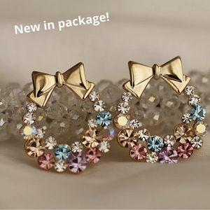 Jewelry - New in package rhinestone alloy metal bow earrings